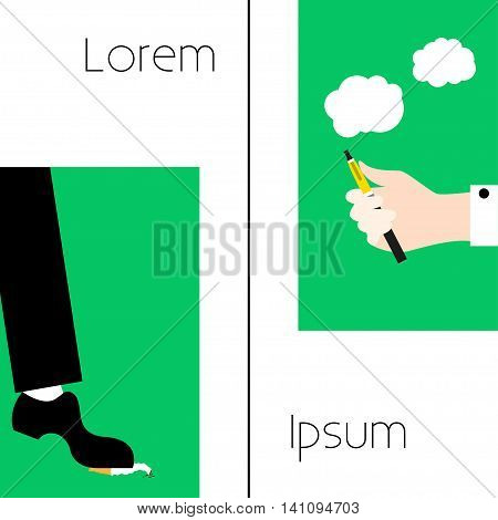 Poster Leg puts an ordinary cigarette Hand holding a electronic cigarette White and green background