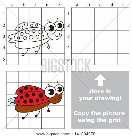 Copy the picture using grid lines. Easy educational game for kids. Simple kid drawing game with Ladybird.