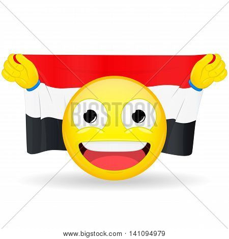 Emoji fan holds in hands flag behind his head. Egyptian Iraqi Yemenite flag. Fan cares for his country. Glory spectator bawl emotion. Exult emoticon. Buff of sports games smile vector illustration.