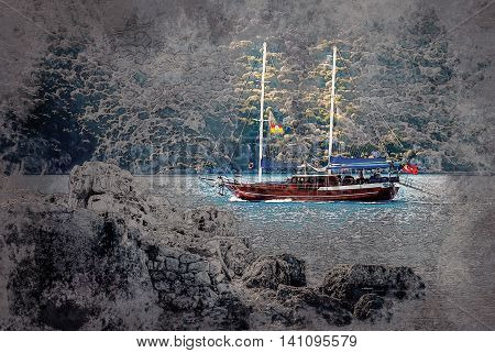 ancient city in Kekova and a boat with turkish flag, Antalya, Turkey. Image of summer vacation in Turkey. Vintage painting, background illustration, beautiful picture, travel texture