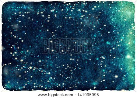 Dark night winter watercolor textured background with falling snow. Merry Christmas and Happy New Year hand drawn template. Sky watercolour stain with snowflakes