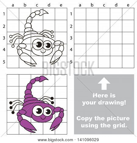 Copy the picture using grid lines. Easy educational game for kids. Simple kid drawing game with Scorpion.