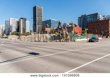 Montreal 2 August 2016: Montreal bonaventure highway destruction