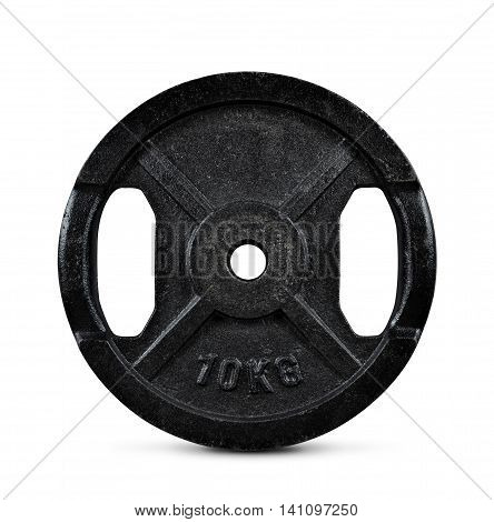 10 kilogram barbell weight isolated on white background.