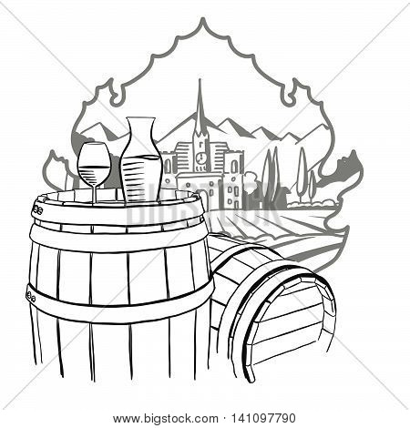 Carafe Glass of Vine on Barrel in Front of Illustrated Farm Hand drawn Vector Artwork