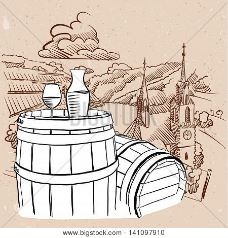 Vineyard Illustration with Sketched Barrel and Glass of Vine Hand drawn Vector Artwork