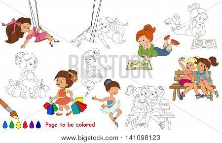 Cute little girls to be colored. Coloring book to educate kids. Learn colors. Visual educational game. Easy kid gaming and primary education. Simple level of difficulty. Coloring pages.