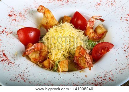 Caesar Salad With Tiger Shrimps