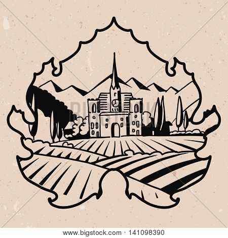 Vineyard Villa with Fields Logo in Outlined Leaf Hand drawn Vector Artwork