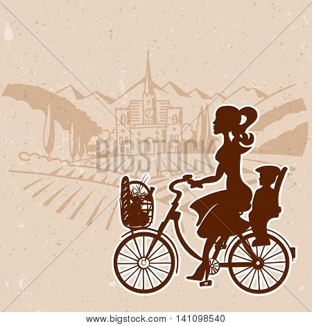 Silhoette Girl with Baby Child with Vineyard Landscape in Back Hand drawn Vector Artwork