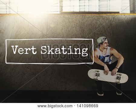 Vert Skating Athlete Active Action Energy Extreme Concept