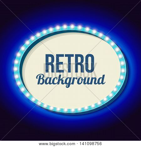 Oval frame with blue neon. Realistic 3D volumetric vintage frame. Retro sign with lights and empty place for your action, advertising, text messages. illustration