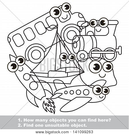 Funny toy transport mishmash set in vector outlined to be colored. Find all hidden objects on the picture. Easy educational kid game. Simple level of difficulty. Visual game for children.