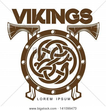 Viking Battle shield with axes, illustration of a simple logo isolated on white background, logo Scandinavian wooden combat shield with axes, Scandinavian design celtic logo
