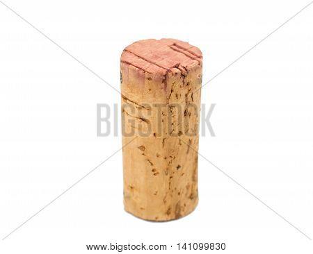 cylinder wine cork on a white background