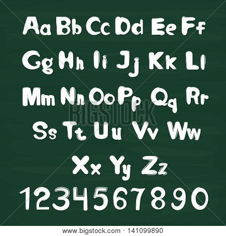 White letters on chalkboard background. Alphabet set with letters and numbers.