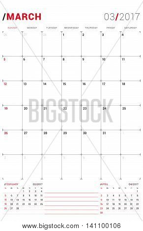 March 2017. Vector Print Template. Monthly Calendar Planner For 2017 Year. Week Starts Sunday. 3 Mon