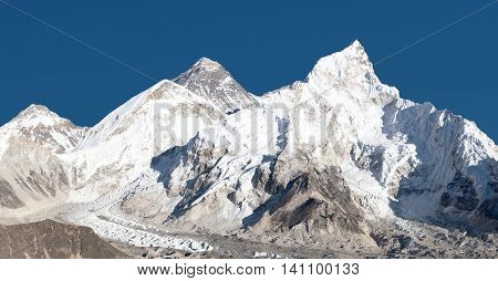 panoramic view of Mount Everest with beautiful sky and Khumbu Glacier - way to Everest base camp Khumbu valley Sagarmatha national park Nepal