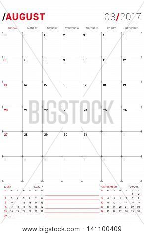 August 2017. Vector Print Template. Monthly Calendar Planner For 2017 Year. Week Starts Sunday. 3 Mo