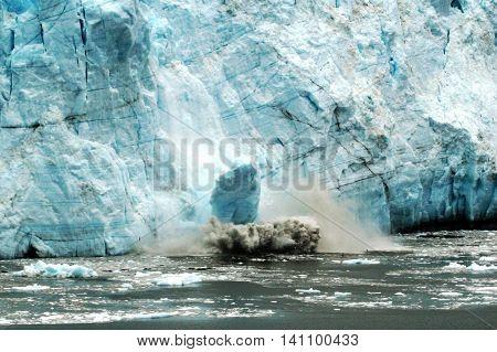 A glacier braking apart (calving) in Glacier Bay Alaska 2013