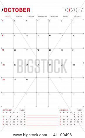 October 2017. Vector Print Template. Monthly Calendar Planner For 2017 Year. Week Starts Sunday. 3 M