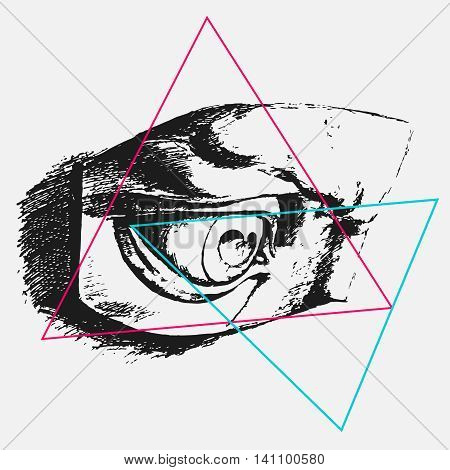 vector graphics, illustration for print on t-shirt, Eye sketch, grunge, triangles