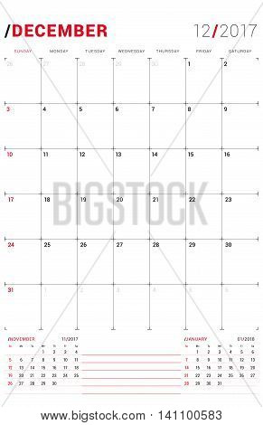 December 2017. Vector Print Template. Monthly Calendar Planner For 2017 Year. Week Starts Sunday. 3