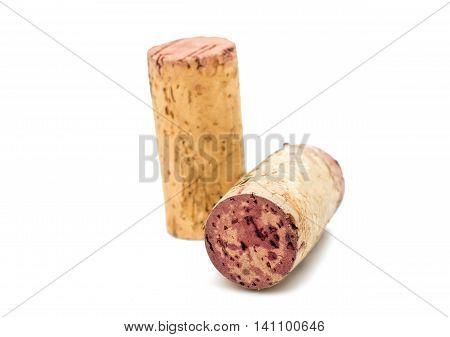 wine cork cylinder on a white background