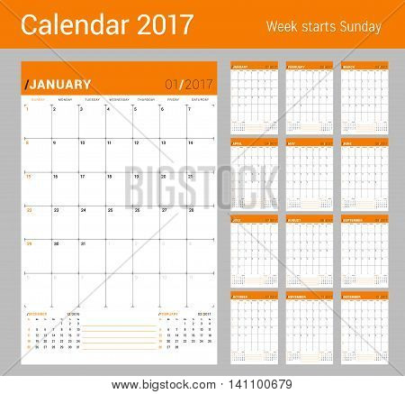 Vector Print Template. Monthly Calendar Planner For 2017 Year. Week Starts Sunday. 3 Months On The P