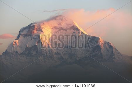 Morning panoramic view of Mount Dhaulagiri from Poon Hill view point Nepa