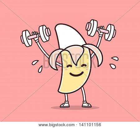 Vector illustration of yellow color smile banana lifts dumbbells on pink background. Fitness cartoon banana concept. Doodle style. Thin line art flat design of character banana for sport lose weight fitness theme