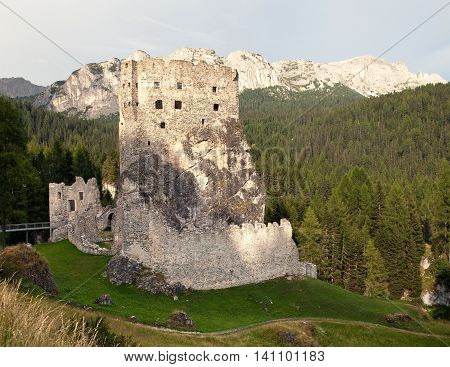 Castello or Castle Buchenstein under Col Di Lana Livinallongo South Tirol Dolomiten mountains Italien European Alps