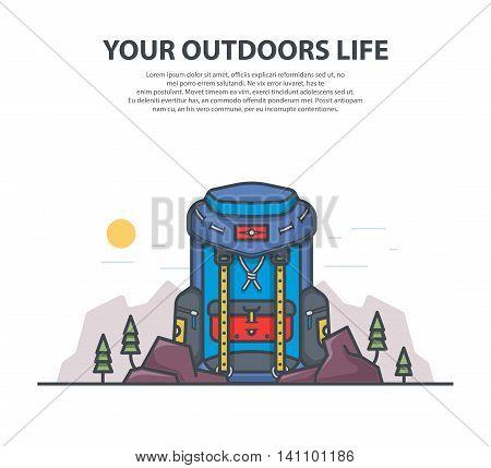 Vector flat modern blue backpack. Outline vector illustration.