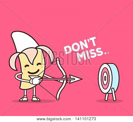 Vector illustration of yellow color smile banana shooting arrows on pink background. Creative archery cartoon banana concept. Doodle style. Thin line art flat design of character banana for business target and planning theme