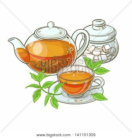 Illustration with cup of tea teapot sugar bowl and tea leaves on white background