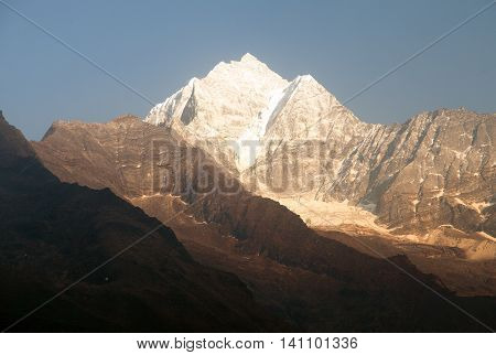 Evening panoramic view of mount Thamcerku beautiful mounts above the Namche Bazar on the way to Everest Base Camp Nepal