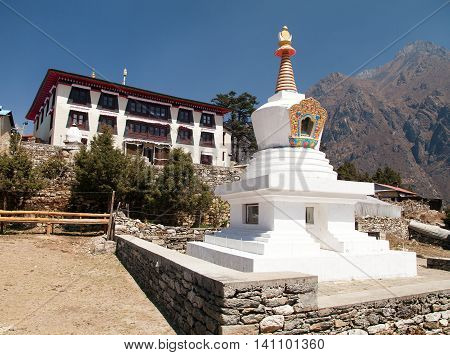 Tengboche Monastery with stupa the best monastery in Khumbu valley trek to Everest base camp Sagarmatha national park Nepal