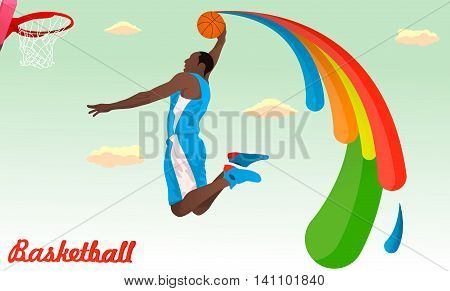 Basketball player jumping to the ring in Rio