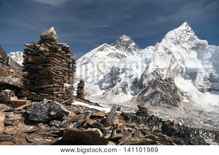 View of Everest and Nuptse from Kala Patthar with stone mans - way to everest base camp Khumbu valley Sagarmatha national park Nepal