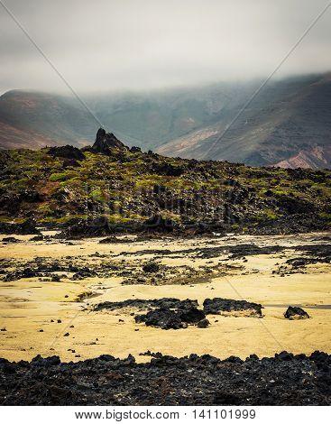 beautiful desert mountain landscape on the island of Lanzarote