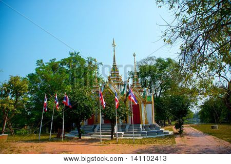 Beautiful Religious Building Is White With Gilding. Ayutthaya Thailand.
