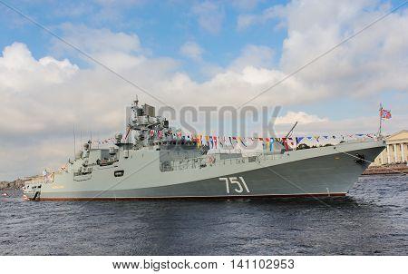 St. Petersburg, Russia - 31 July, Big warship