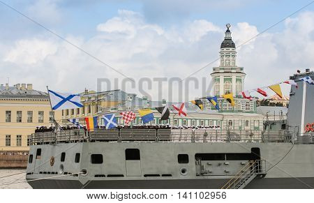 St. Petersburg, Russia - 31 July, Feed a large warship, 31 July, 2016. Festive parade of warships on the Neva River in St. Petersburg.