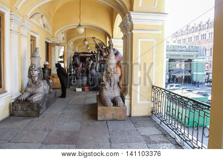 St. Petersburg, Russia - 9 April, The visitor of the museum of wax figures, 9 April, 2016. Wax Museum Gallery large Gostiny Dvor.
