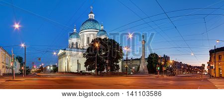 St. Petersburg Russia -June 15 2016: Night panoramic view of the Trinity Cathedral and the crossroad of Troitsky Prospect and Izmailovsky Prospect