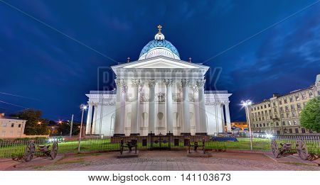 Night panoramic view of the Trinity Cathedral the gate and the square near it St. Petersburg Russia