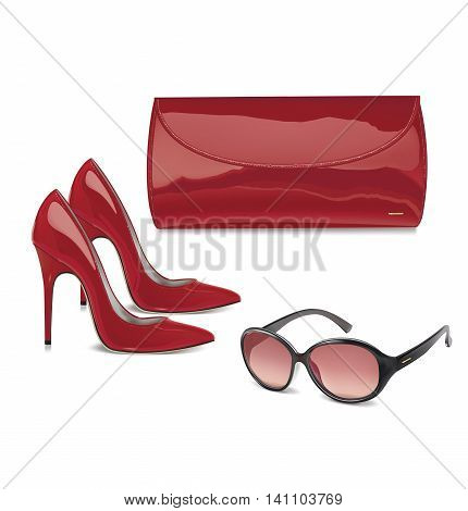 Pair of red patent leather female high-heeled shoes mini bag and sunglass. Vector illustration