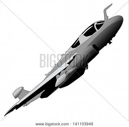 Graphic illustration of an electronic warfare military jet aircraft