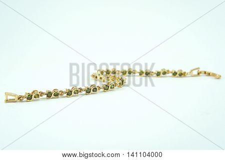 Bracelet jewelry on white background, Bracelet green sapphire