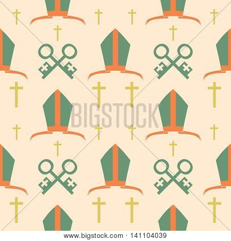 Bishop mitre and crosses. Seamless backdrop. Vector illustration. Catholic symbols